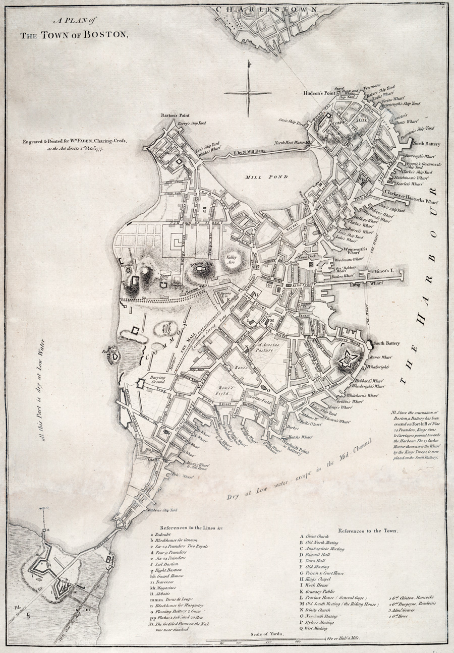 Map of Boston, before the American Revolution