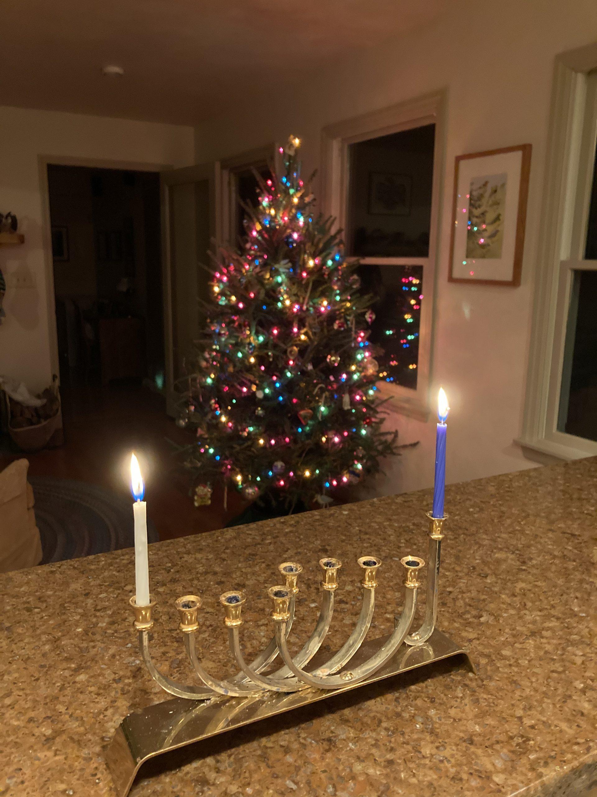 Menorah and Christmas Tree, by David B. Coe